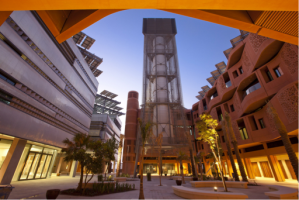 Figure 4: The windtower at the center of Masdar City (Masdar Official, 2010).