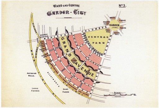 A single ward of the Garden City, showing the series of avenues and gardens that make up the rings of the city. Source: Garden Cities of To-Morrow, Ebenezer Howard