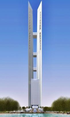 An artists rendering of the 102 Incheon Tower, the unbuilt twin towers in Songdo. Credit: Wikimedia