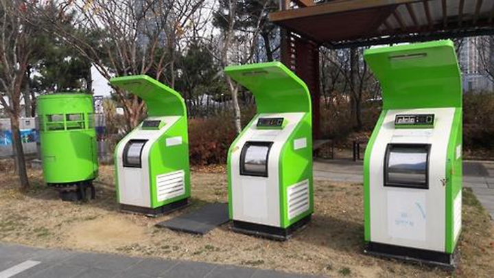Songdo's pneumatic trash cans. From these cans, trash is recycled or burned for energy. Credit: Teller Report
