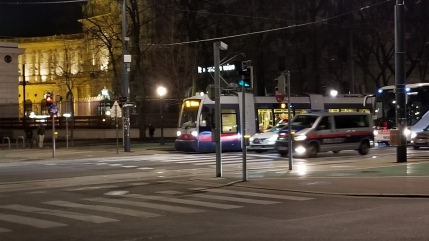 The Ringstrasse around the inner city. Here you can see a tram, cars, and a bus running along the same route.
