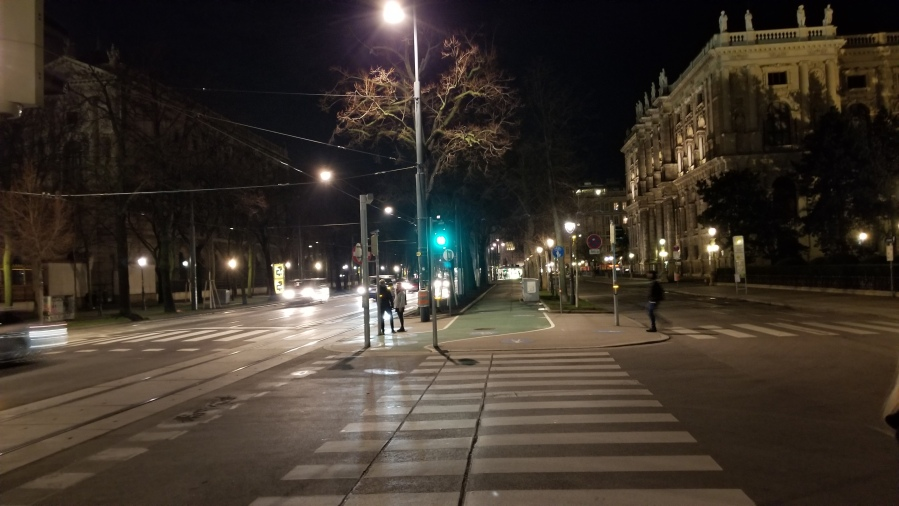 The bike and walking path down the center of the Ringstrasse. Similar size paths are on either side of the street.