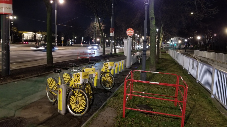 A Citybike station along the Ringstrasse. The bikes are free for the first hour, but must be returned to a station.