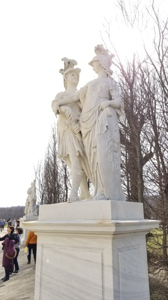 My favorite of the statues in Schönbrunn, this depicts Minerva (the Roman equivalent of the Greek Athena) stopping Mars (Ares) from drawing his sword.