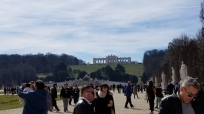 The Gloriette, one of the buildings at Schönbrunn, seen from the base of the hill it rests on.
