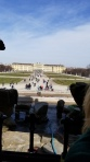 The view of the Schönbrunn Palace from the inside of the Neptune Fountain.