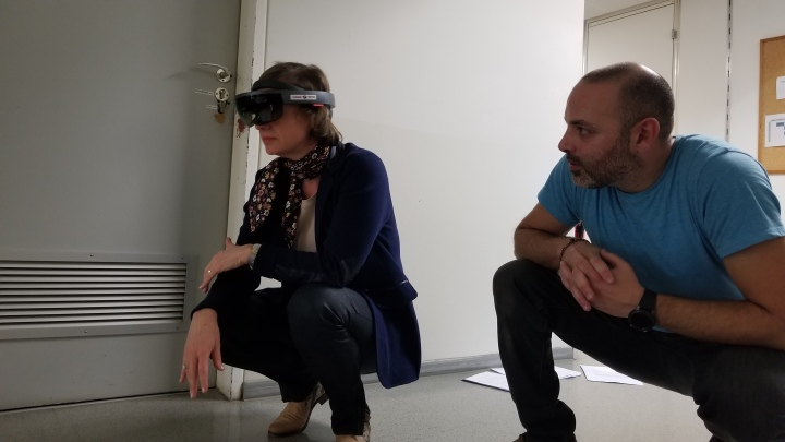 Professor Alenka Poplin (left) examines some virtual pipes with Dr. Paolo Fogliaroni.