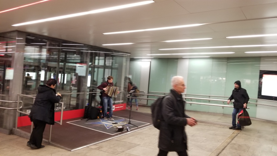 A busker in the Vienna subway. Busking is regulated, with buskers auditioning for 90 minutes spots in the busiest stations.