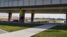 A skate park under the subway track into Aspern.