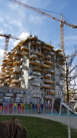 A residential building under construction in Aspern.