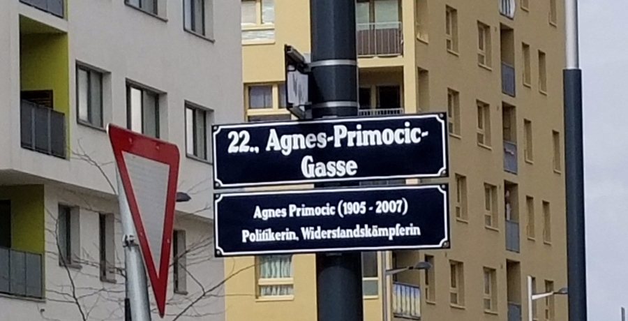 A street sign in Aspern. Most of the streets in the district are named for women, an effort to balance out the male dominated Viennese network. Other streets are named for Ada Lovelace and Janis Joplin.