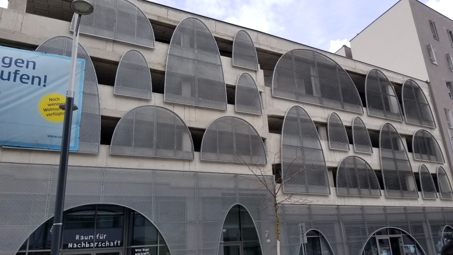 The only above ground parking garage in Aspern. Like nearly every other building in the development, the ground level is shops and offices that add to the street life.