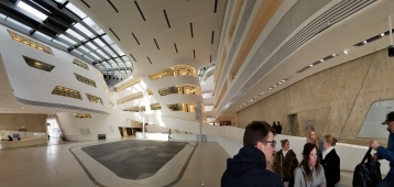 The interior of the Zaha Hadid-designed Library at WU Vienna.