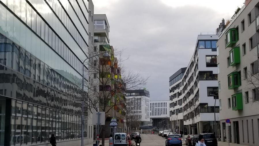 A portion of the Nordbahnhof development, built on former railway land.