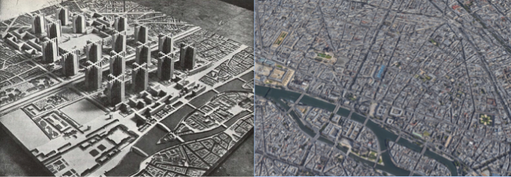 A model of Plan Voisin (Amber Case on Flickr), compared to the area as it appears today (Google Maps).