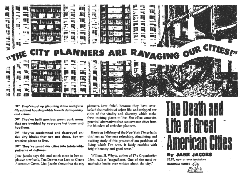 An ad for The Death and Life of Great American Cities. Credit: pdxcityscape on Flickr.