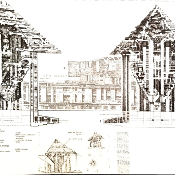 The design for Hexahedron, an arcology for any environment. Author's scan from Arcology: The City in the Image of Man