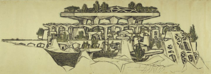 Detail of the market of Mesa City, as designed by Paolo Soleri, 1961. Credit: Cosanti Foundation/Soleri Archives/David DeGomez