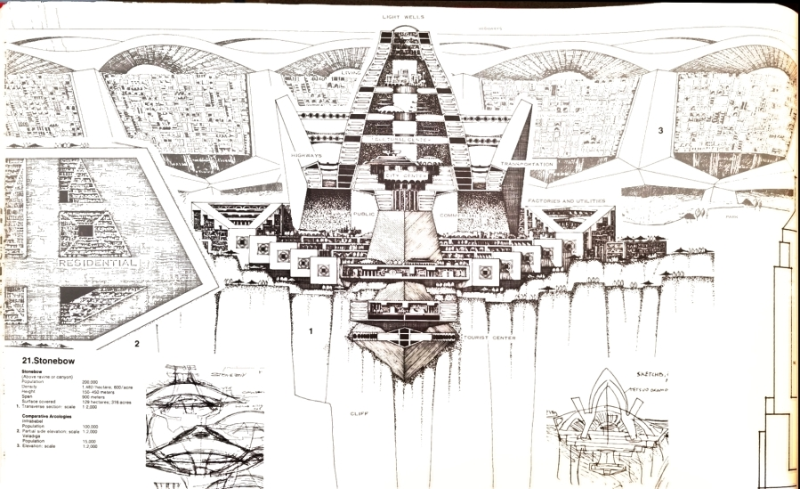 The design for Stonebow, an arcology built into a cliff face. Author's scan from Arcology: The City in the Image of Man