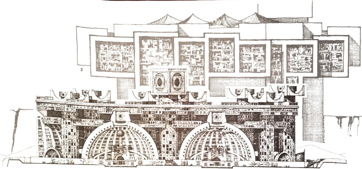 The original design for Arcosanti as included in Arcology: The City in the Image of Man. Author's scan.