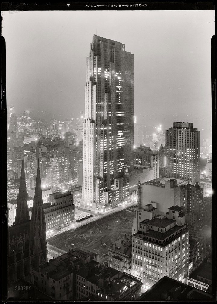 "The Rockefeller Center in 1933. Wright saw this skyscraper as ""the entrails of final enormity."" Ironically, it was here that he first exhibited the Broadacre City model. Credit: Shorpy.com"