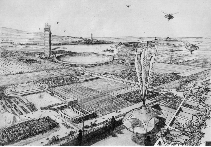 "A 1958 sketch of a piece of Broadacre city, featuring Wright's predicted ""aerator"" air travel devices. Credit: kjell on Flickr"