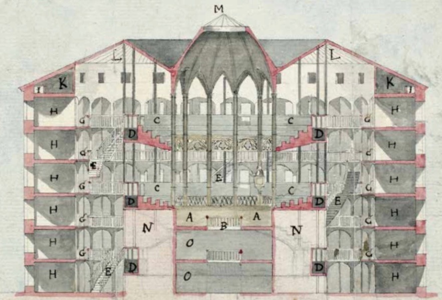 "A section plan of an ""inspection house,"" a circular building with 6 floors of cells along the outer edge and a central tower lit by a skylight."
