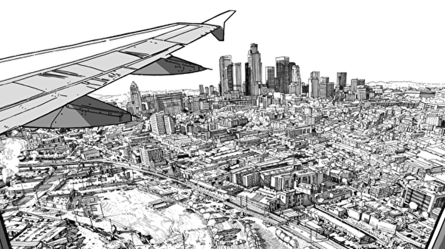 View from an airplane illustration for The 99 Percent Invisible City book by artist Patrick Vale.