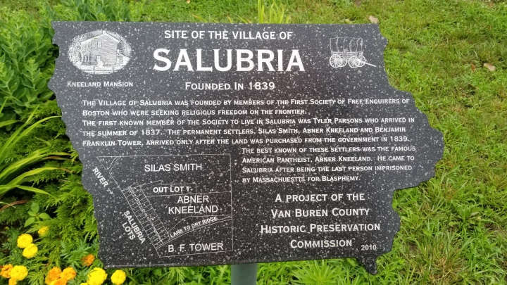 This plaque, from the Forgotten Villages of Van Buren County series, describes the hamlet of Salubria. All that remains is the plaque and a small cemetery.