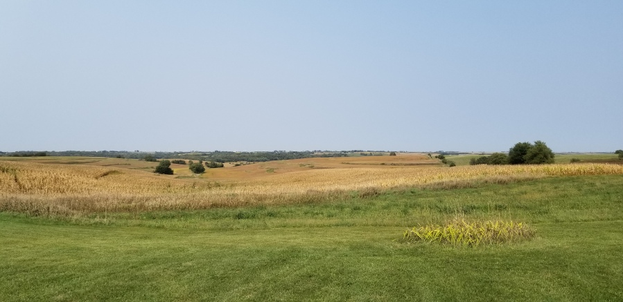 The view of Iowa prairie and fields from the French Icarian Village near Corning, Iowa.