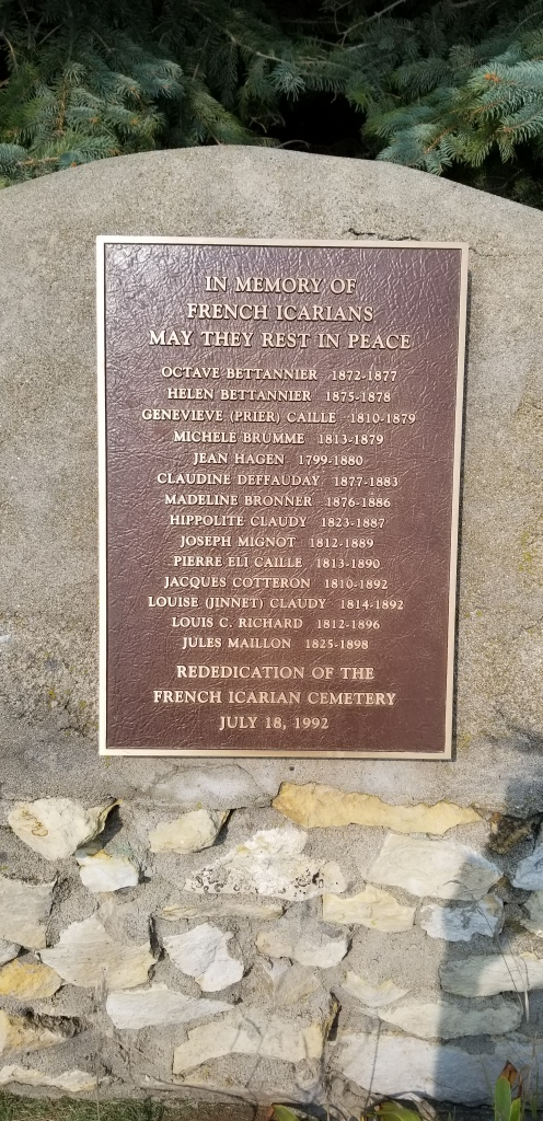 A plaque at the Icarian Cemetery, listing the names of individuals known to be buried there.