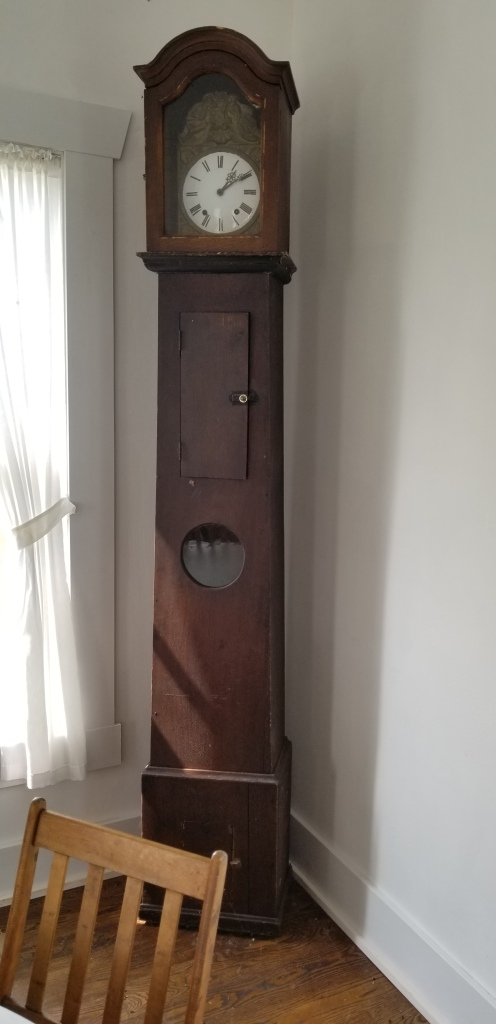 An original Icarian grandfatherclock in the communal dining hall at the French Icarian Village.