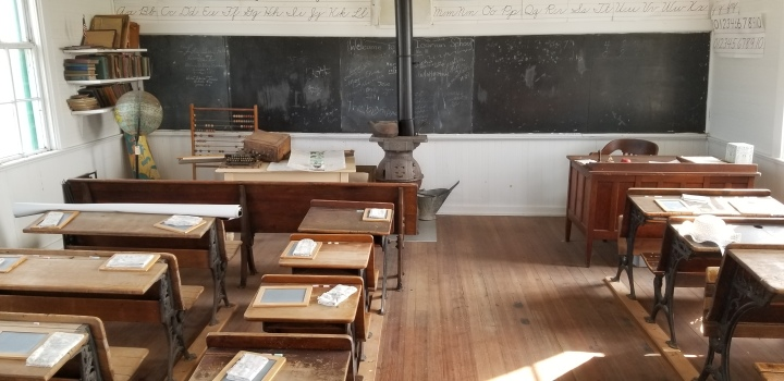 The interior of the Icarian schoolhouse.