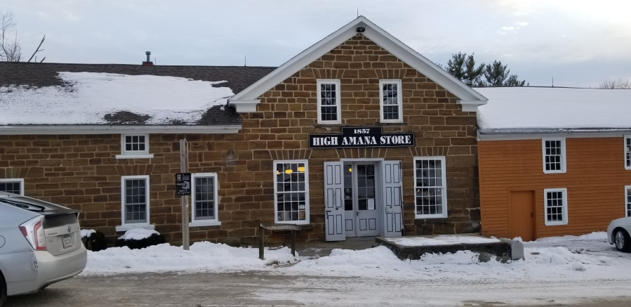 The High Amana General Store, a low brick building.