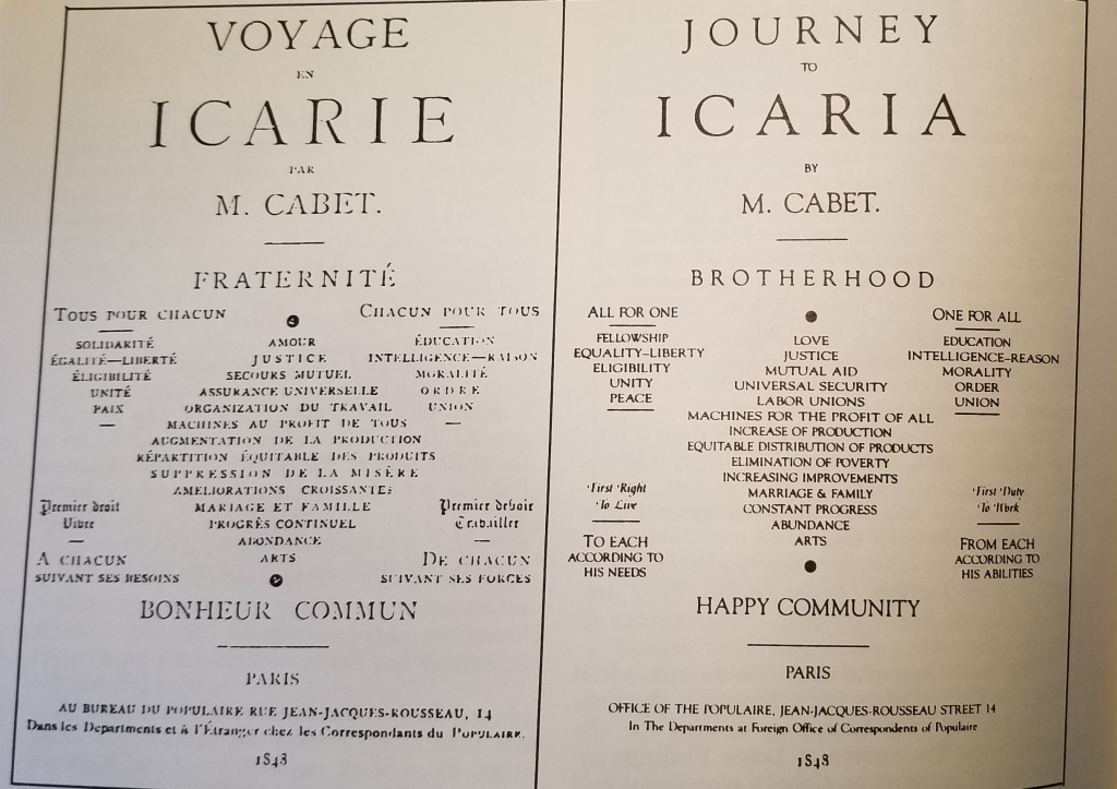 The French and English covers of Voyage en Icarie.