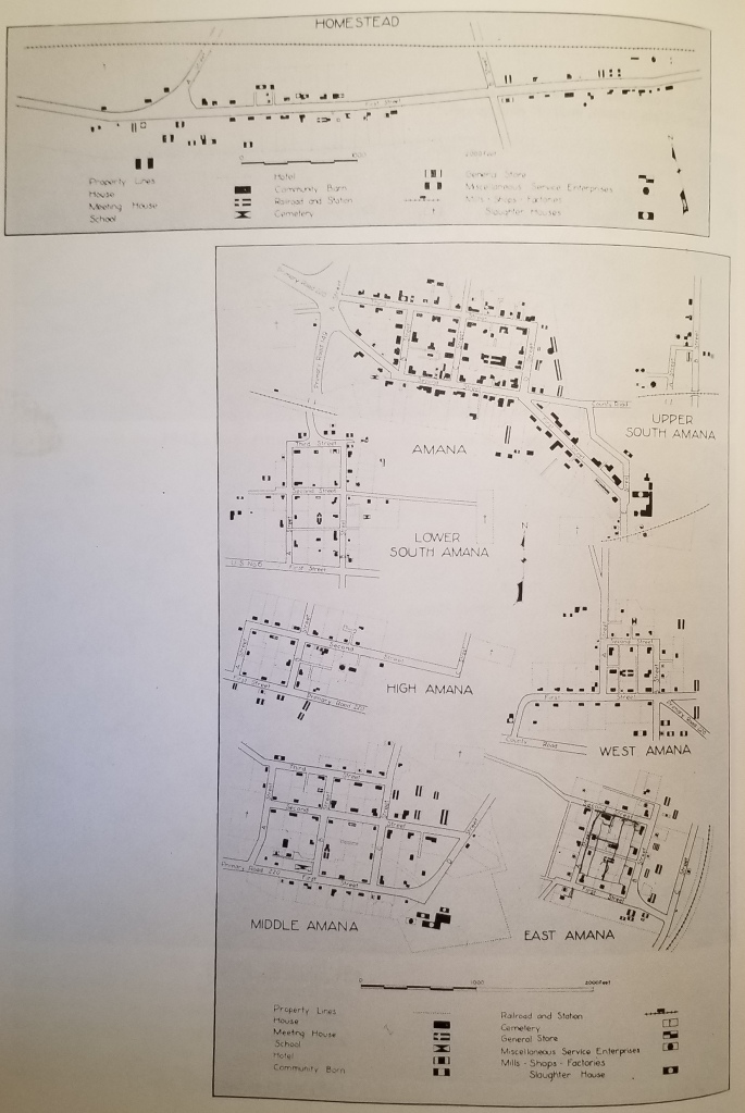 8 city plans covering the 7 Amana Colonies. The are labeled Homstead, Amana, Upper South Amana, Lower South Amana, High Amana, West Amana, Middle Amana, and East Amana