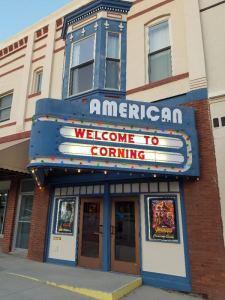 The American Theatre in Corning Iowa. Note the fleur-de-lis along the top window.