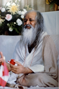 An elderly Indian man with a long white and gray beard sits cross legged. he is wearing a white and tan robe.