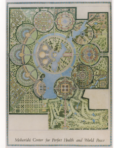 """A colored master plan showing 10 circles surrounding one central ring. A caption at the bottom reads """"Maharishi Center for Health and World Peace."""""""